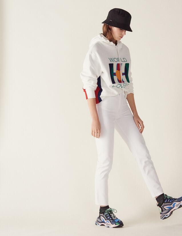 Jean Taille Haute À La Coupe Droite : Jeans couleur Blanc