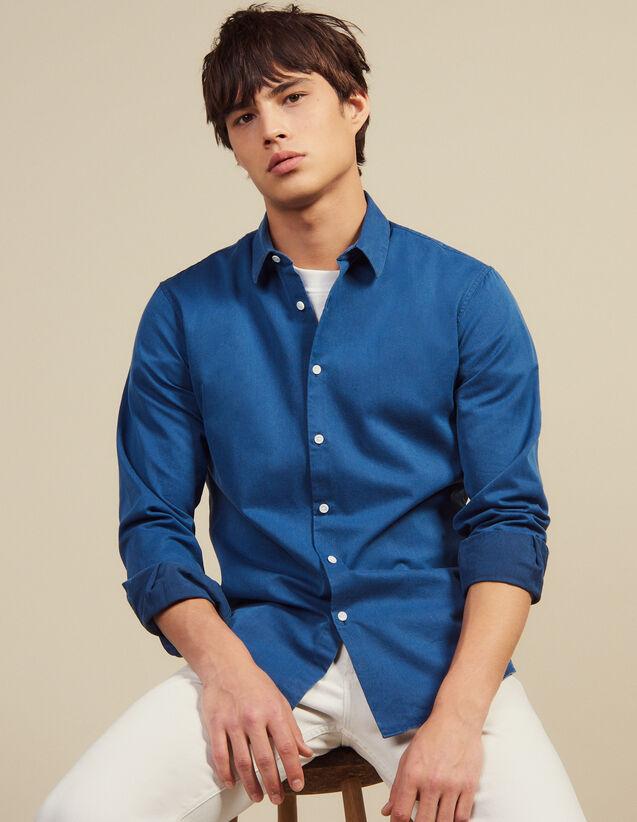 Chemise Casual En Chambray Délavé : Chemises couleur Blue Vintage - Denim