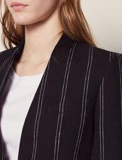 Veste De Blazer Rayée Assortie : Blousons & Vestes couleur Noir