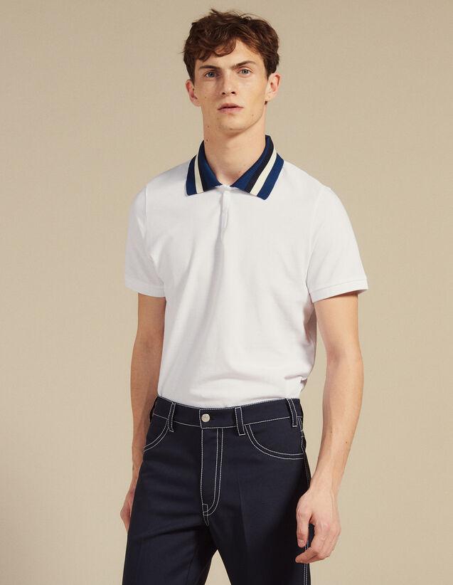 Polo En Coton À Col Varsity : T-shirts & Polos couleur Blanc