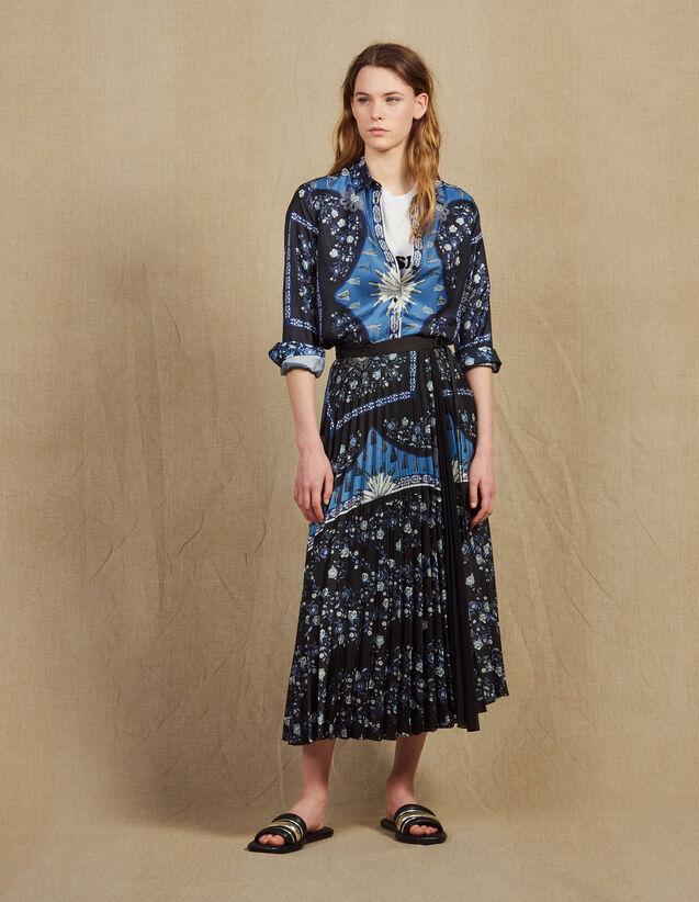 3859f57554 Jupe Longue Portefeuille Plissé Soleil : Jupes & Shorts couleur Bleu