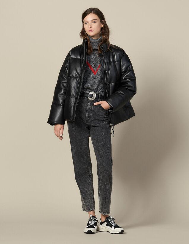 Doudoune Over Size En Cuir : Manteaux couleur Noir