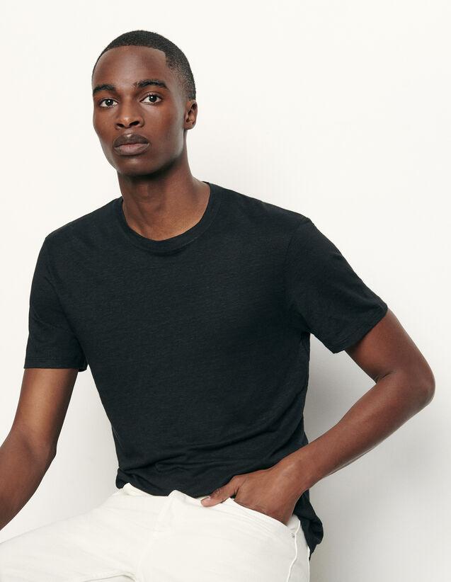 T-shirt en lin : T-shirts & Polos couleur Noir