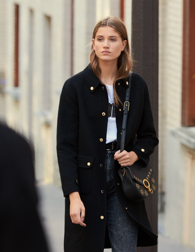 Manteau En Laine Avec Pressions Dorées : New in couleur Noir