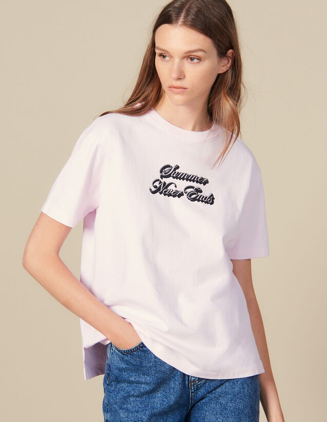 T-Shirt Avec Inscription : T-shirts couleur Rose