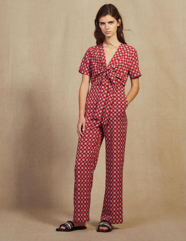 Combi-Pantalon Fluide Imprimée : Combinaisons couleur Rouge