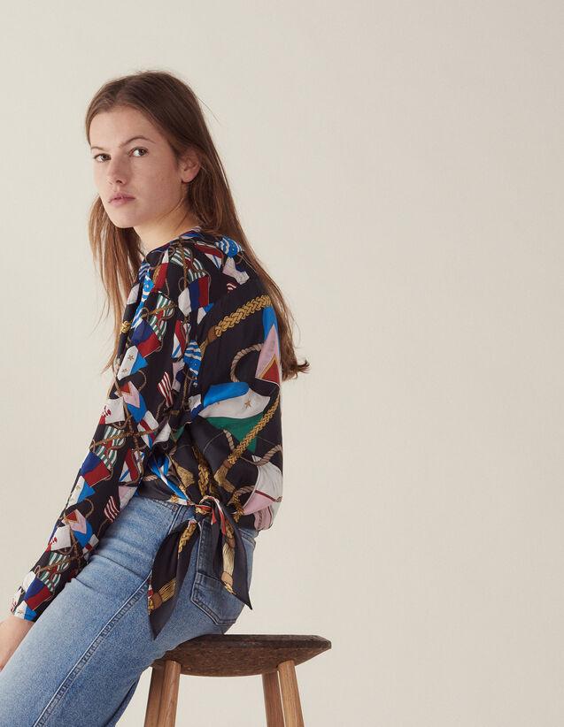 Top Imprimé En Soie Manches Longues : Tops & Chemises couleur Noir
