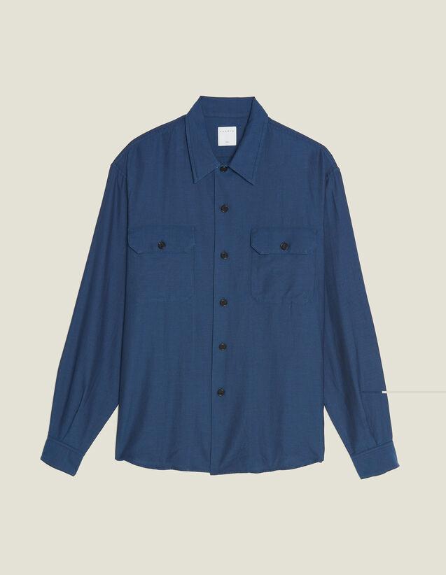 Chemise En Tissu  Fluide Chevron : Chemises couleur Bleu