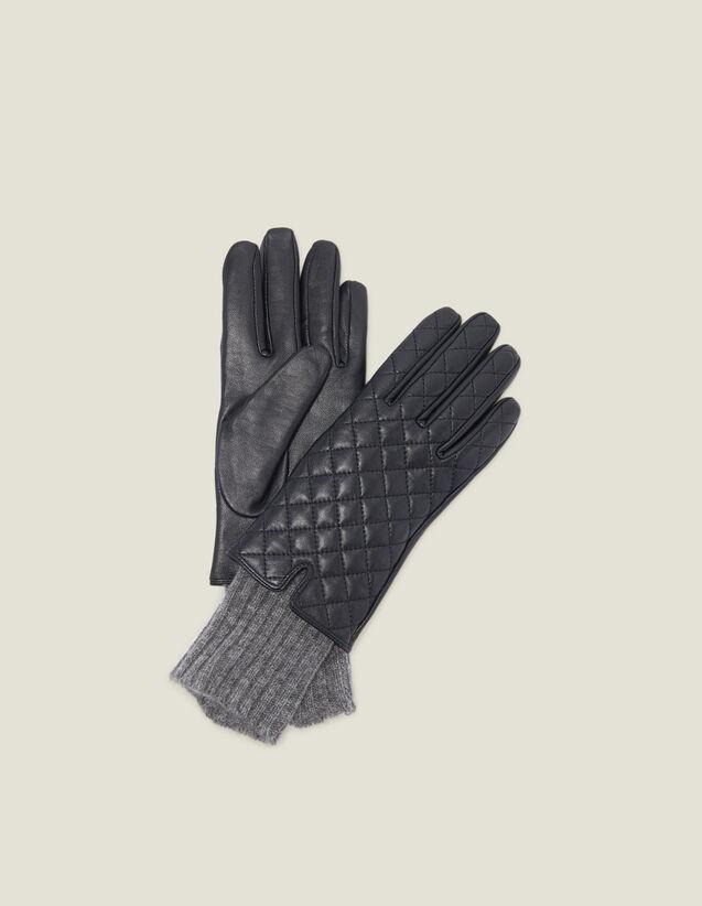 Gants En Cuir Matelassé : Gants & Bonnets couleur Noir