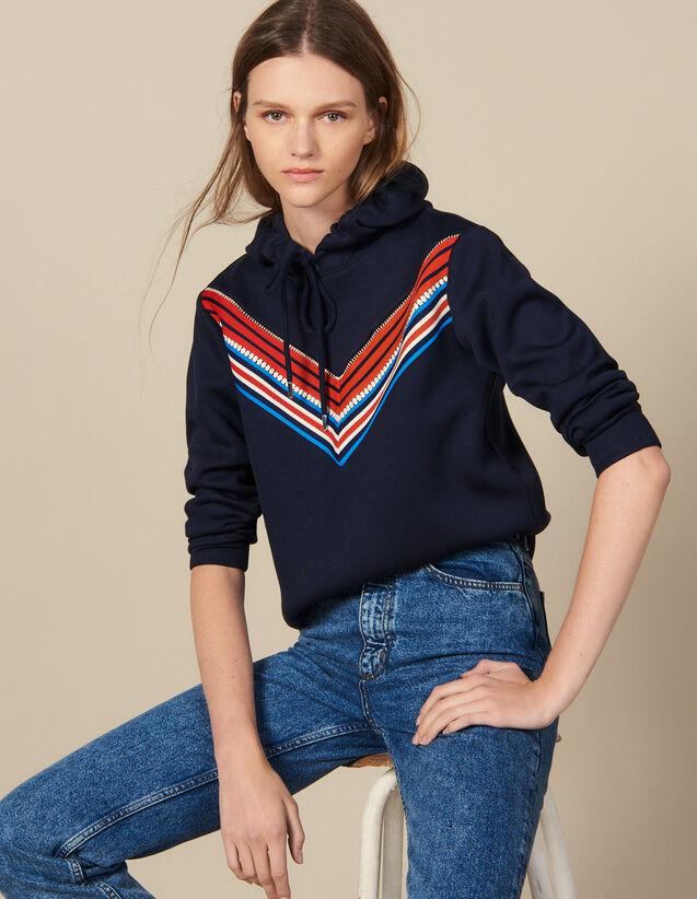 Sweatshirt Avec Galon Rayé : Sweats couleur Marine