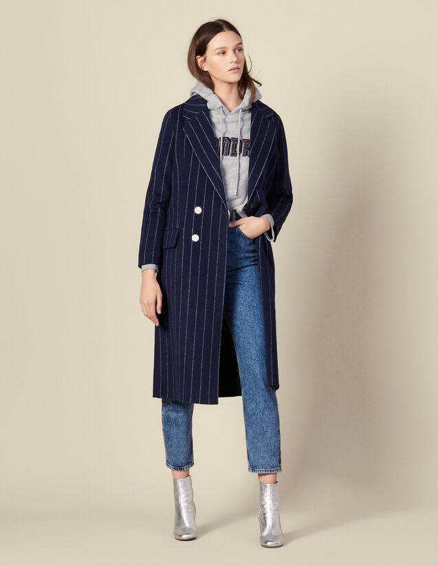 Manteau Long En Double Face : Blousons & Manteaux couleur Navy