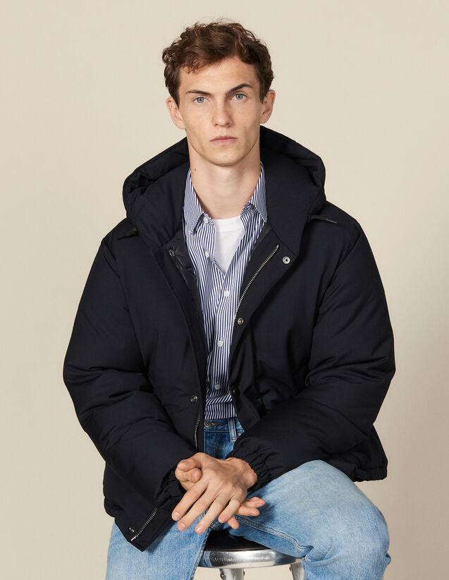 Doudoune courte à capuche : Trenchs & Manteaux couleur Marine