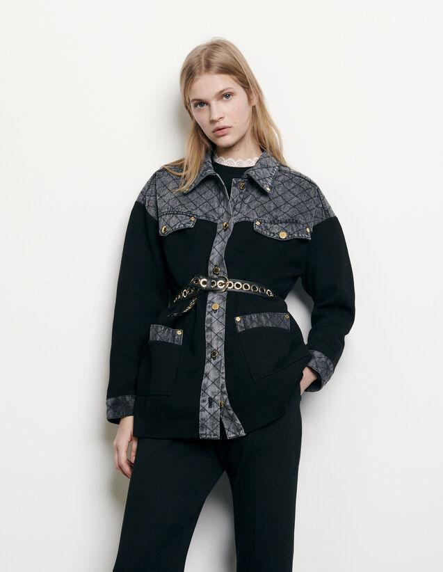 Cardi-coat à empiècement en jean : Pulls & Cardigans couleur Noir