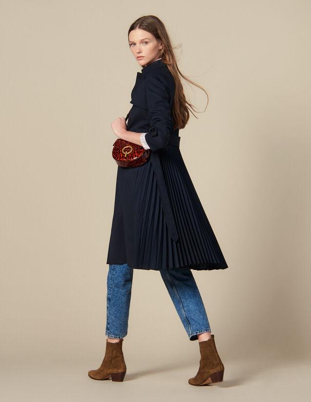 Trench-coat à empiècement plissé : Manteaux couleur Marine