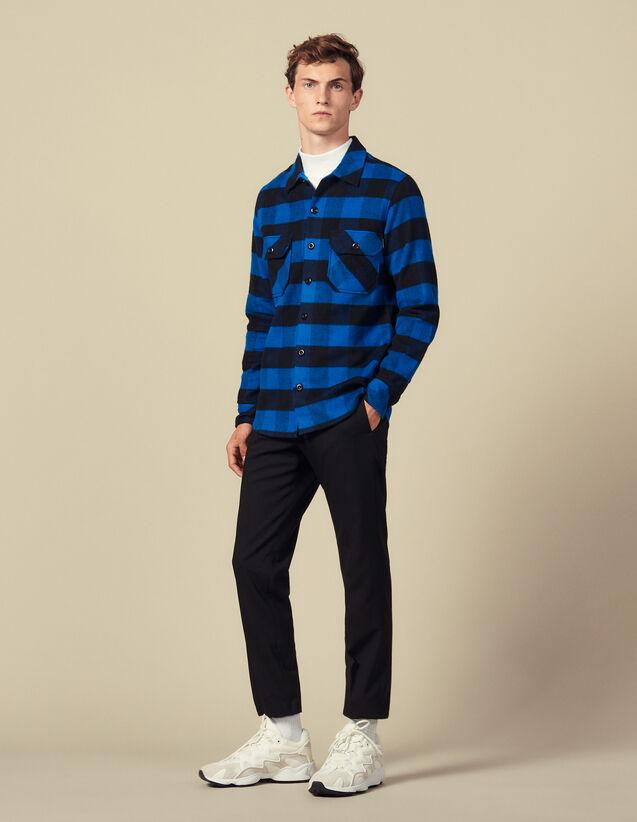 Chemise à carreaux en coton : Collection Hiver couleur Bleu