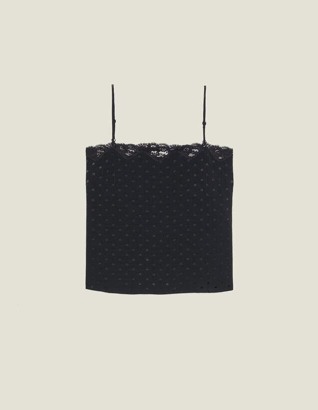 Top Lingerie En Jacquard Ton Sur Ton : Tops & Chemises couleur Noir