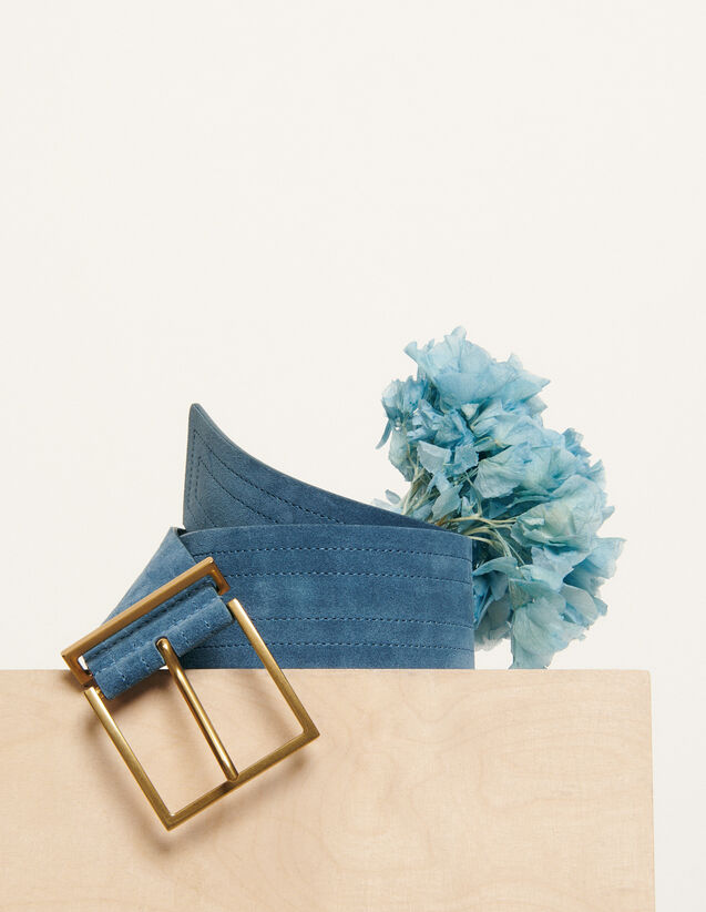 Ceinture large surpiquée : Collection Été couleur Bleu Denim