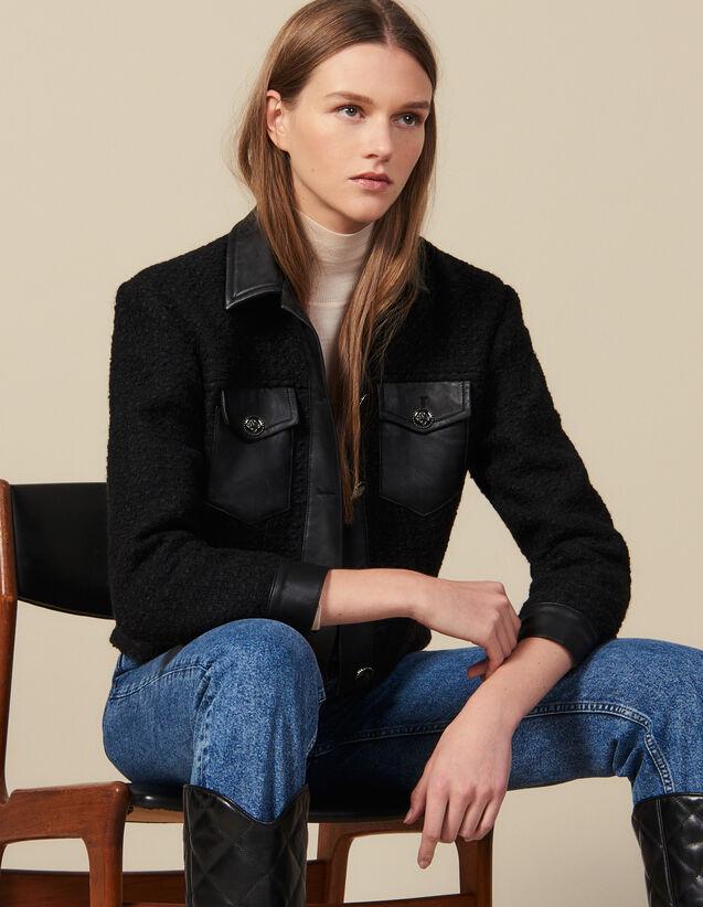 Blouson en tweed avec finitions cuir : Blousons & Vestes couleur Noir