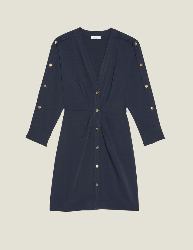 robe-courte-ornée-de-pressions-dorées by sandro-paris