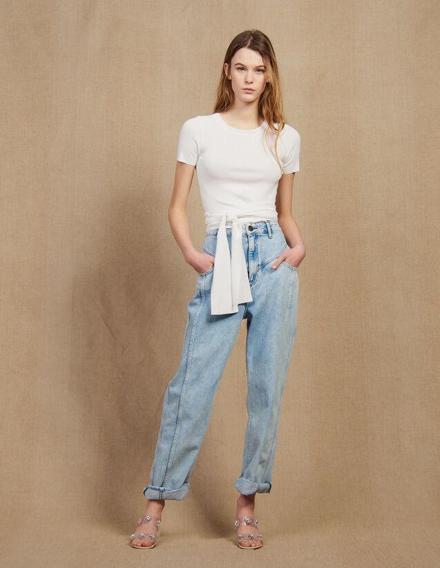 Top en maille avec lien à nouer   Tops   Chemises couleur Blanc c5424d08e84