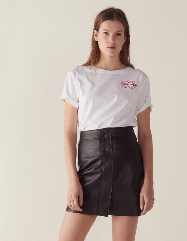 Jupe En Cuir Coupe Trapèze : Jupes & Shorts couleur Noir