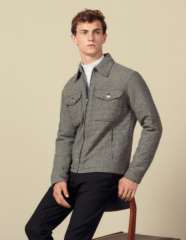 Blouson pied de poule en laine : Blousons & Vestes couleur Noir/Blanc
