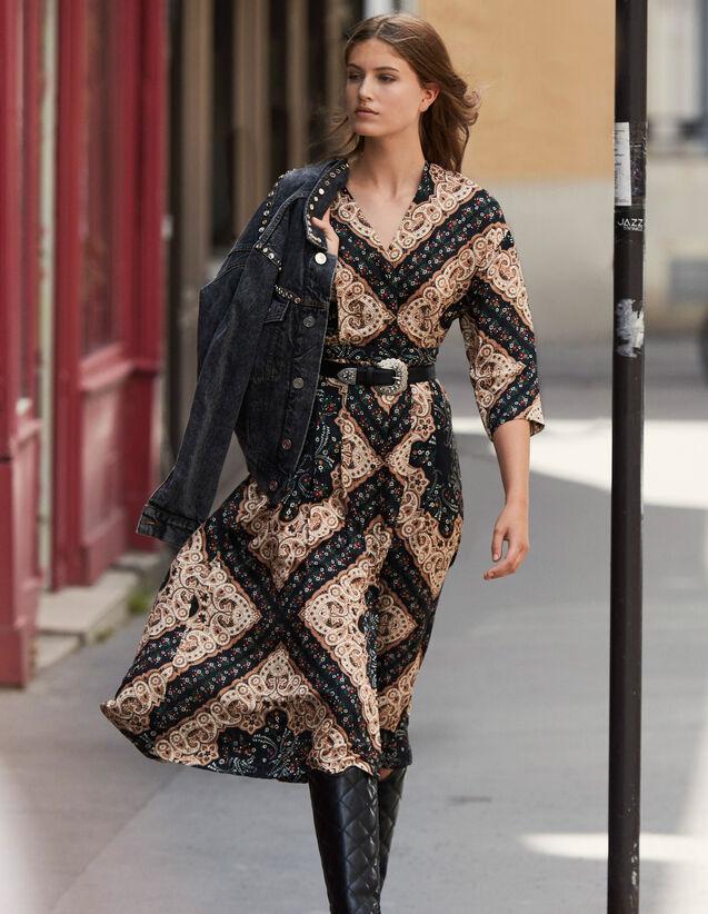 Robe Midi Décolletée En Imprimé Placé : Robes couleur Noir