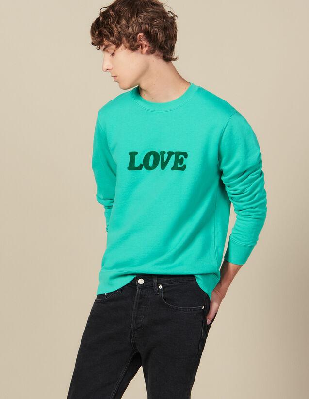 Sweat À Message : Collection Hiver couleur Vert D'Eau