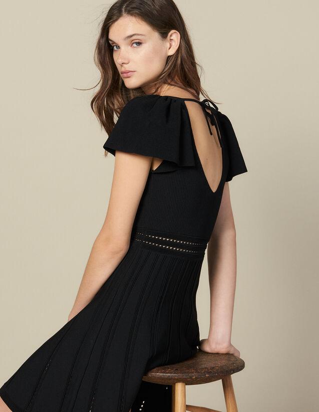 Robe courte en maille : -30% couleur Noir