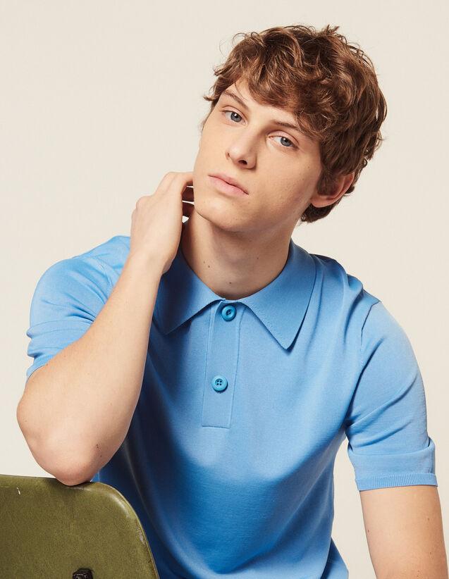 Polo En Maille Fine Manches Courtes : T-shirts & Polos couleur Ecru