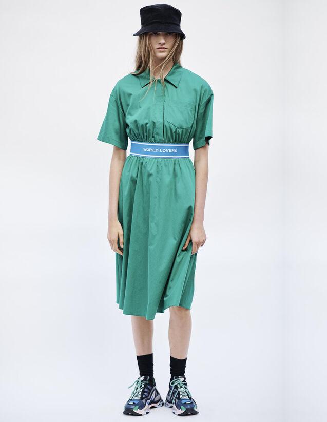 Robe En Satin De Coton : Robes couleur Vert