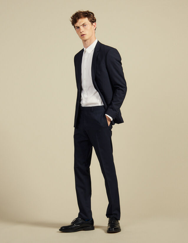 Pantalon De Costume Slim Fit En Laine : Costumes & Smokings couleur Marine