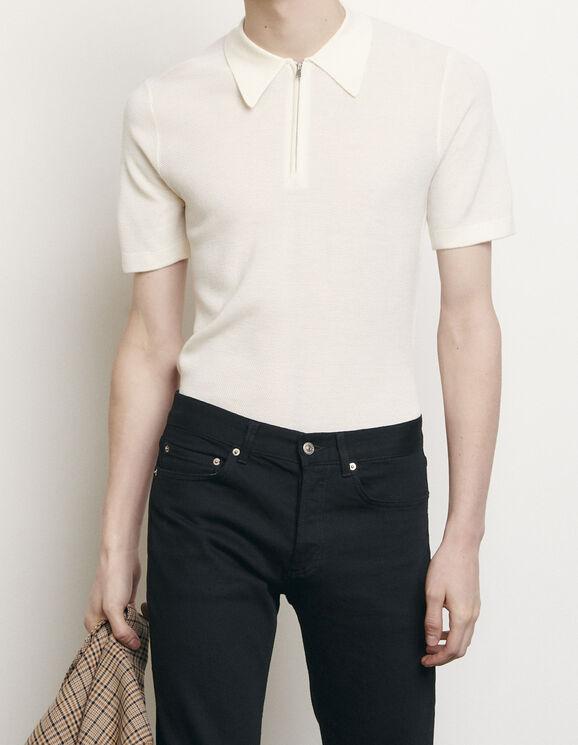 Polo en maille : T-shirts & Polos couleur Ecru