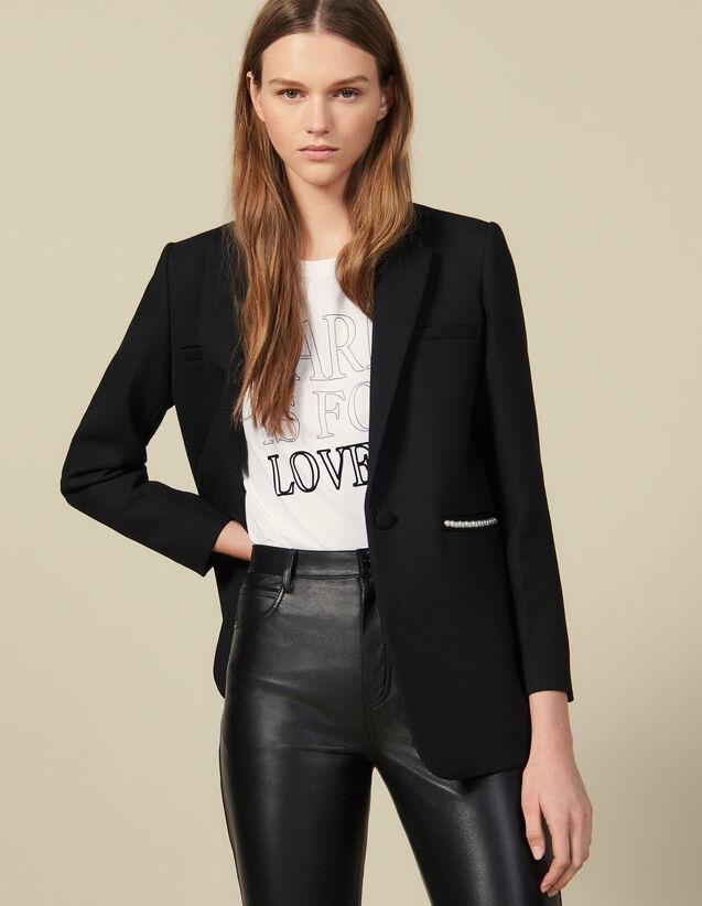 Veste De Blazer Ornée De Perles : Blousons & Vestes couleur Noir