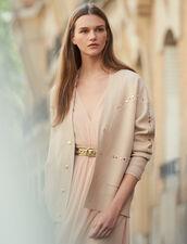 Cardi-coat orné de studs : Pulls & Cardigans couleur Chair
