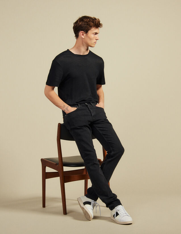 Jean Noir - Coupe Skinny : Jeans couleur Black - Denim