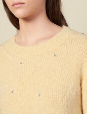 Pull col rond orné de strass : Pulls & Cardigans couleur Jaune