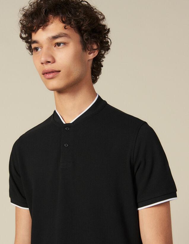 Polo à l'encolure contrastée : Toute la collection Hiver couleur Noir
