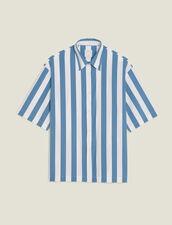 Chemise Casual Rayée Manches Courtes : Chemises couleur Bleu