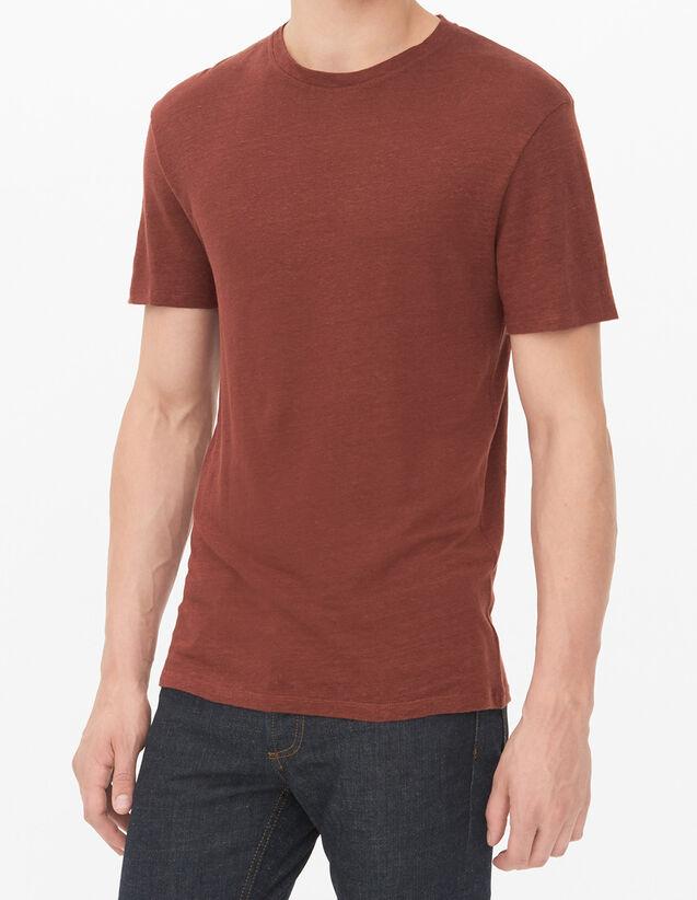 T-Shirt En Lin : T-shirts & Polos couleur BORDEAUX FONCE