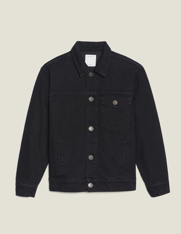 Veste En Jean Fit Masculin Avec Patch : Blousons & Vestes couleur Noir