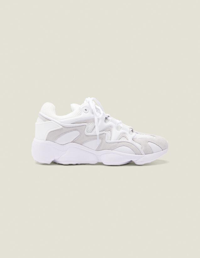 Baskets Mix Matières : Chaussures couleur Blanc