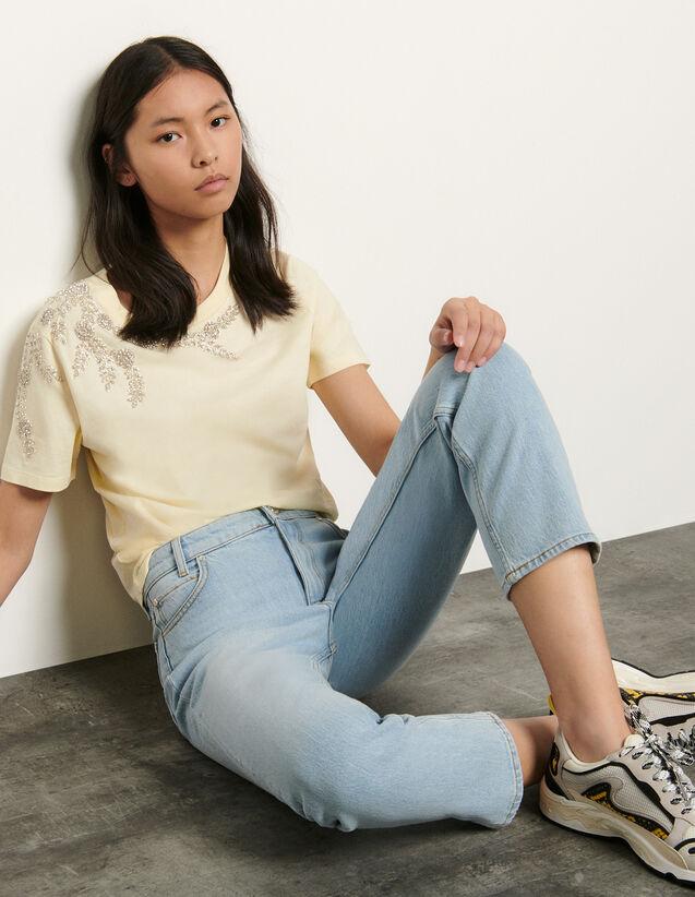 T-shirt orné de broderies et strass : Collection Été couleur Jaune