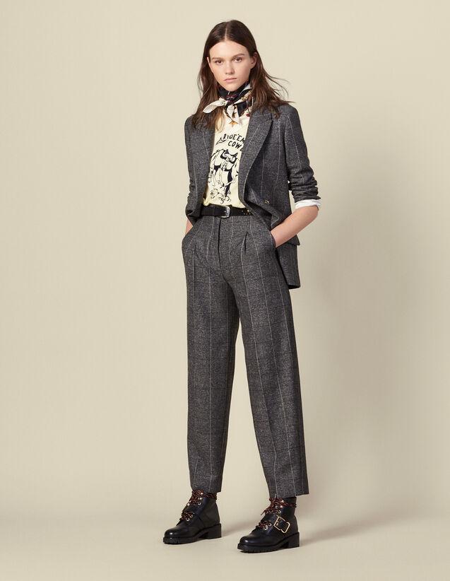 Pantalon large à carreaux : Pantalons couleur Gris