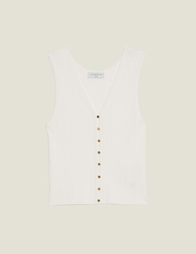 Top En Maille Avec Boutons Bijoux : Tops & Chemises couleur blanc