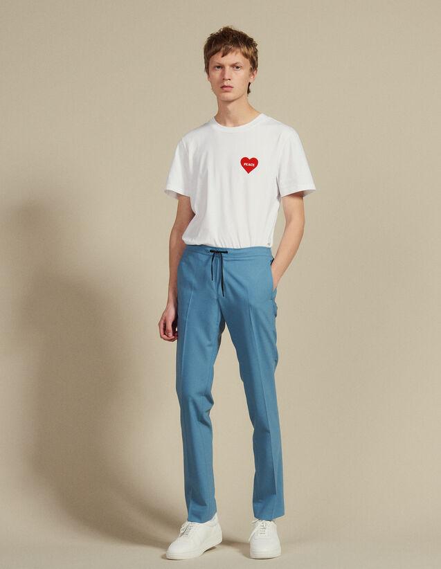 Pantalon De Ville Ceinturé D'Un Cordon : Pantalons & Shorts couleur Bleu Acier