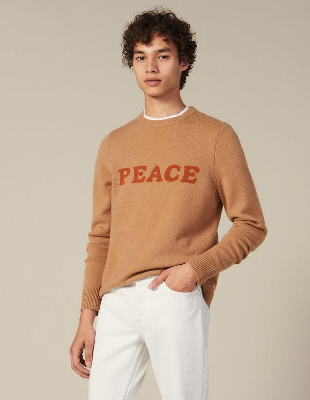Pull En Laine Et Cachemire À Message : Pulls & Cardigans couleur Marine
