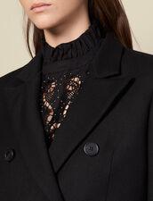 Manteau long ajusté en laine : Manteaux couleur Noir