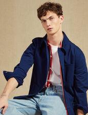 Veste De Travail En Coton Délavé : Blousons & Vestes couleur Bleu