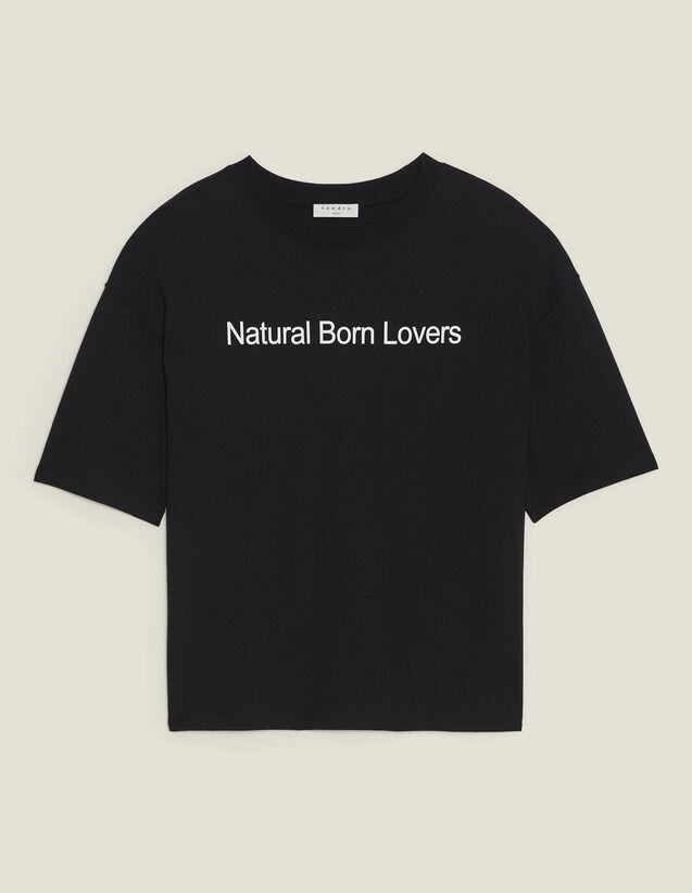 T-Shirt Over Size À Message Contrastant : T-shirts couleur Noir